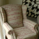 script fabric wingback chair