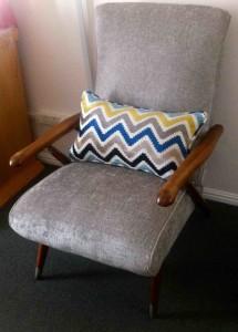 Fabric retro chair silver
