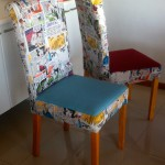 Bright fabric dining chairs