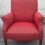 fabric arm chair red