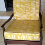 fabric arm chair yellow