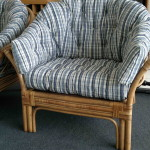 fabric cane arm chair blue