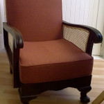 fabric cane arm chair brown