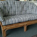 fabric cane sofa blue