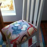 fabric dining chair blue floral