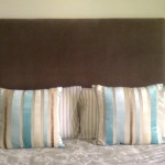 fabric headboard brown