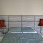 fabric headboard grey