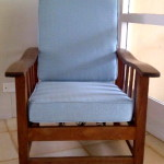 fabric morris chair blue