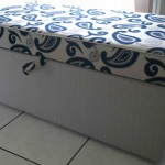 fabric ottoman blue and beige