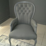 fabric queen anne arm chair grey