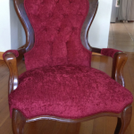 fabric queen anne arm chair red