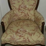 fabric queen anne arm chair tan