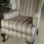 fabric wingback chair stripes