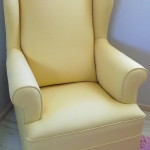 fabric wingback chair yellow
