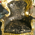 leather arm chair gold