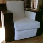 leather arm chair white