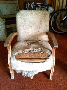 battered retro chair