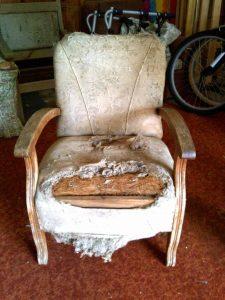 battered retro chair