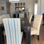 striped dining chairs - blue
