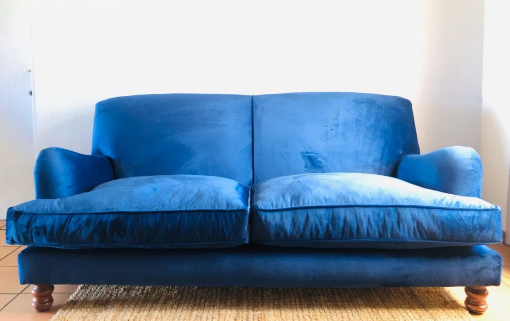 Blue velvet couch full frontal