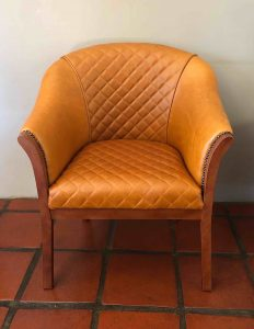 Leather tub chair - quilted