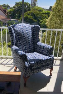 fabric wingback chair - white block