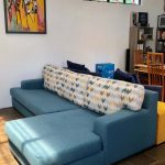 l-shape couch with stain-resistant fabric
