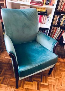 teal velvet arm chair