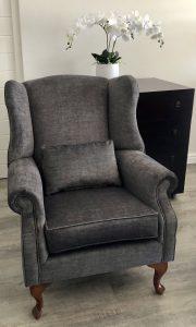 grey velvet wingback chair