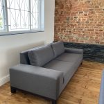 charcoal stain-resistant fabric couch